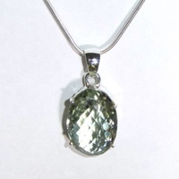 Green Amethyst & Sterling Silver Pendant