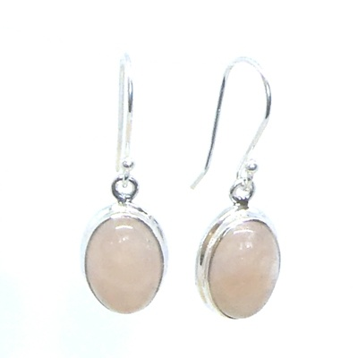 Morganite & Sterling Silver Oval Earrings