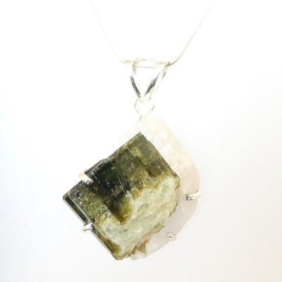 Green Tourmaline & Sterling Silver Pendant